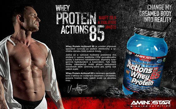 Výsledek obrázku pro Aminostar Actions Whey Protein 85 1000 g