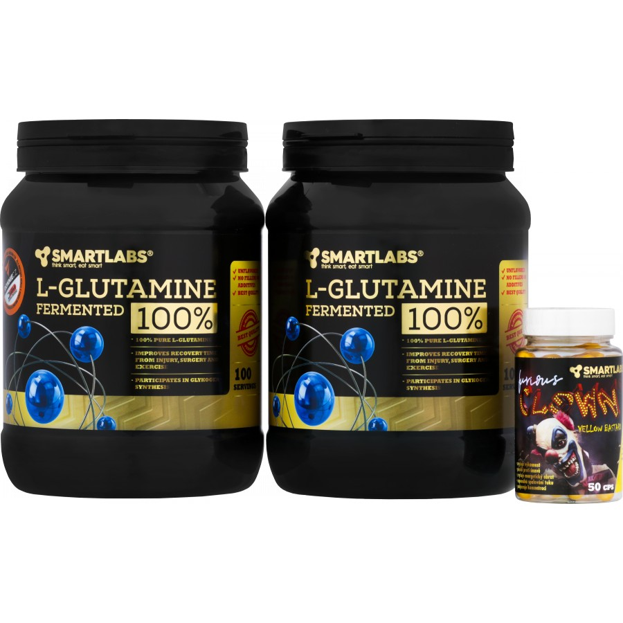 L-Glutamine 2x 500 g + Furious Clown (R) Yellow Bastard ZDARMA! - Smartlabs